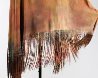 1920s Tie-Dyed Antique Chinese Silk Shawl Wearable Art | Rare Bohemian 1920s Shawl