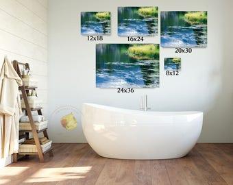Pond photo, lake art, Rocky Mountain National Park photo, Colorado art, Blue Yellow, blue lake wall art, log cabin decor, rustic wall art