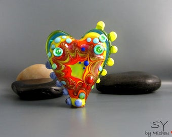 Bright Light Explosion Power heart - lampwork Art Glass - Its an original  Michou P. Anderson Design