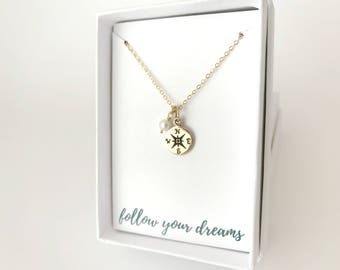 Gold Compass Necklace - New Job Gift - Traveler Gift - Gold Minimalist Necklace - Personalized Inspirational Necklace - Goodbye Gift