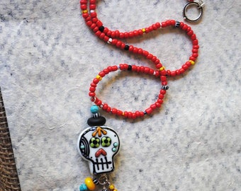 Sugar Skull Necklace, Halloween Necklace, Spooky Necklace, Colorful Necklace, Day of the Dead, Calavera Jewelry, Dia de los Muertos