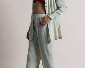 Vintage 90s Silver Rayon Set / Gray Tunic Pant / Two Piece Set