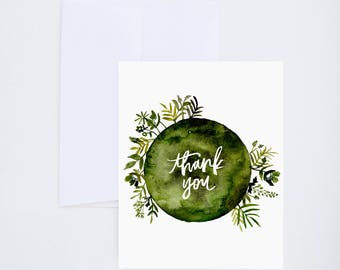 Thank You Greetings - Thank You - Green Floral Wreath - Painted & Hand Lettered Cards - A-2