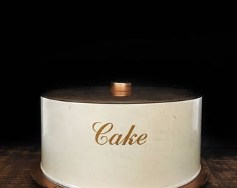 Vintage Cake Tin, Gold Cake Tin, Cake Carrier, Cake Plate, Cake Stand, Cake Cover, Pie Plate, Shabby Chic, Rustic Kitchen, Farmhouse