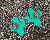 Cactus Sunset Paradise Earrings - Teal/Red - Rockabilly - Retro - Pinup - Vintage Style - Mid-century - 1950s