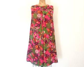 1960s Mod Dress Vintage 60s Floral Print Bright Pink Mini Tent Dress S
