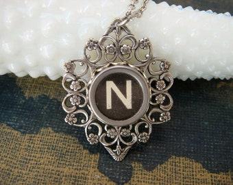 Typewriter Key Jewelry Letter N