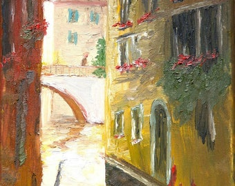 """Venice Canal Painting, European Painting, Art, Oil Painting, Reproduction Art, Landscape Art-Giclee Print of Fine Art Oil Painting- """"Venice"""""""