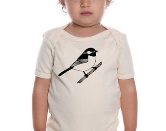 Organic Chickadee Baby Clothes, Baby Shirt, Short Sleeved Baby Bodysuit, Infant Creeper, Natural Organic Cotton, Bird Baby Shirt Screenprint