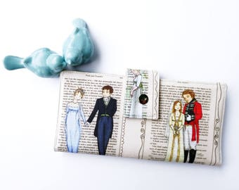 Jane Austen Wallet, Vegan wallet, Women's Wallet, Literary Gift, Book lover gift idea, Reader gift idea, Pride and Prejudice, Mr. Darcy