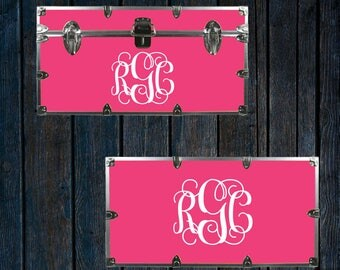 Camp Trunk monogram, Dorm Trunk decal, Footlocker sticker, vinyl lettering W00931