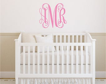 Nursery Monogram wall decal, Initials decal, Girl Bedroom decor, Teen room, College Dorm, Personalized vinyl lettering custom letters LL0931