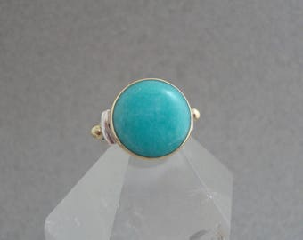 Amazonite Ring in 18k Gold and Sterling Silver, Bright Aqua-Blue Gemstone Ring