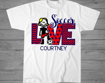 Love Soccer T-Shirt | Girls Soccer Shirt | Soccer Player Gift | Personalized Soccer Shirt | Soccer Ball Shirt | Soccer Sister | Girl Sports