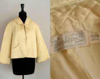 Vintage 1950's Bed Jacket / 50's Barbizon Puffett Butter Yellow Quilted Bed Jacket