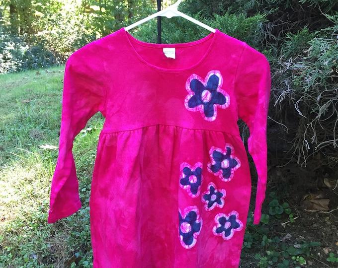 Featured listing image: Pink Girls Dress, Flower Girls Dress, Girls Flower Dress, Blue Flower Dress, Long Sleeve Dress, Cotton Girls Dress, Batik Girls Dress (8)