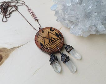 Be Still // Rustic Midnight Moon // Necklace // OX Copper // Quartz Crystal Wand Points // Burned Wood // Ready To Ship