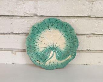 Vintage Aqua Leaf Plate // Variegated Leaf // Plate Wall Collection Decor