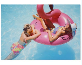 80s 90s Swimsuit Neon Tropical Floral One Piece Swim Suit Low Back Bathing Suit Hawaiian Abstract Print Raver Club Kid Bodysuit (M/L) E10074