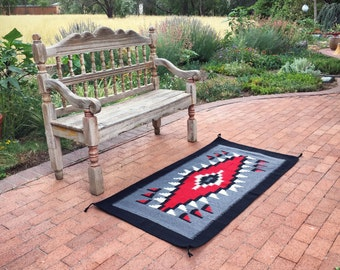 """Vintage 31"""" x 63"""" Zapotec rug gray red Mexican rug woven wall hanging Southwestern decor"""
