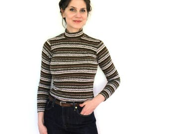 90s Turtleneck Sweater / 1990s Sweater / 90s Grunge Neutral Striped Fitted Turtleneck Sweater