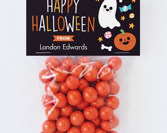 Halloween Treat Labels & Tags - Happy Halloween Ghost and Pumpkin - Set of 24 personalized paper tags and 24 treat bags