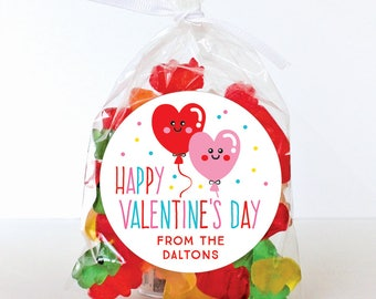 Valentine's Day Stickers - Heart Balloons - Sheet of 12 or 24