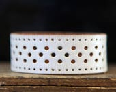 CUSTOM HANDSTAMPED CUFF - bracelet - personalized by Farmgirl Paints -off white leather cuff with cutouts