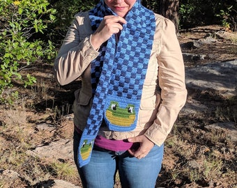 Green Frog Scarf for Men or Women - Checkered Scarf - Blue Scarf - Checkers, Checker - Hoooked Scarves - Ready To Ship