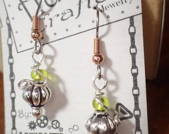 small pumpkin earrings for fall, harvest, halloween silver pumpkin