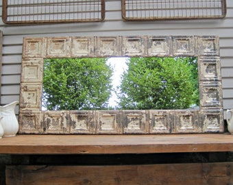 Tin ceiling Mirror, 2x4 Bedroom Bathroom Wall Mirror, Architectural salvage, Old weathered paint, Rustic, Shabby, French country decor