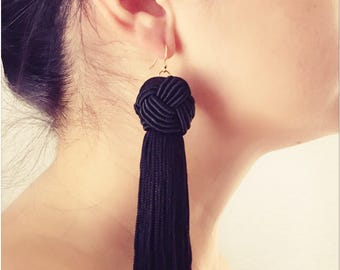 Chunky Tassel Earrings | 14k gold | 3 COLORS | Designer Earrings | Long Earrings | Trendy Earrings | Black | Gold | Tassel Earrings