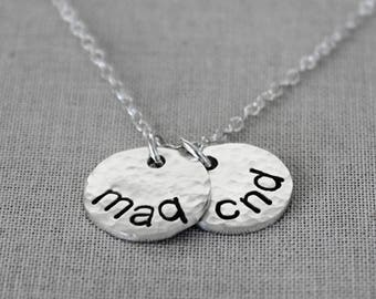 Double Side Date Necklace, Two Side Initial Necklace, Personalized Sterling Silver Disc Necklace, Thick New Mom Jewelry