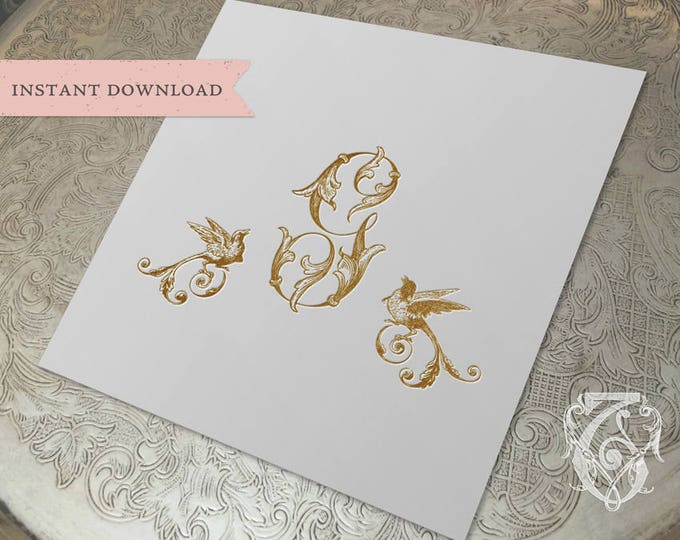 Wedding Crest Vintage Initial G Birds Crest Digital Download