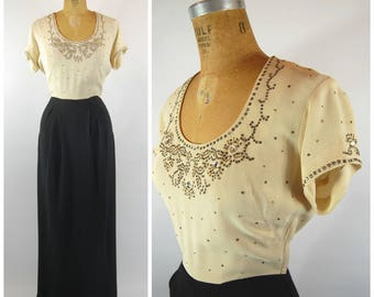 1940s Rhinestone Studded Gown - Art Deco Evening Dress Formal Gladys Skillings New Canaan - Black and Ivory Crepe 40s Maxi Dress