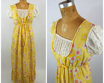 Early 1970s Cotton Maxi Dress // Flower Power Empire Waist Hippie Dress Puffed Sleeves - Yellow and pink Eyelet cotton