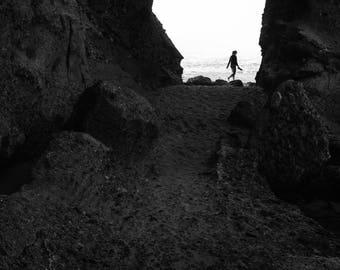 "Black and White Photographic Print, Landscape Fine Art, Nature Photography, Wall Decor, Photographic Print, Home Decor - ""Treasure Cave"""