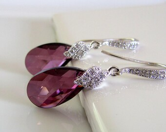 Purple Crystal Earrings, Lilac Bridal Earrings, CZ Sparkle, Lilac Purple Bridesmaids Earrings, Crystal Drop Earrings