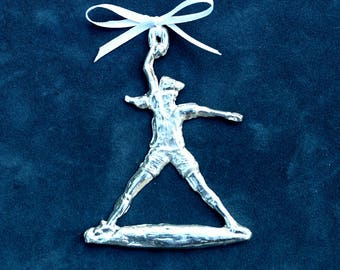 Pewter Softball Player Ornament