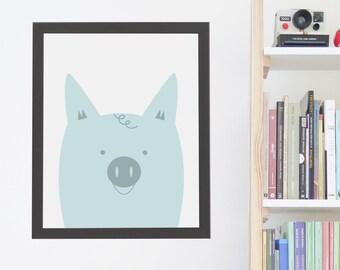 Nursery Animal Print, Pig Wall Art, Kids Room Poster, Printable Kids Gift, Printable Artwork, Instant Digital Download, Cute Pastel Blue Pig
