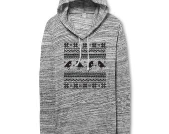 hoodie- bird pattern- geometric -  urban heather - birds -lightweight hoodie - hoodies - graphic hoodie - fleece - womens
