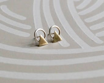 Geometric Silver and Gold Stud Earrings