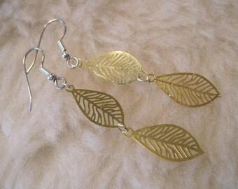 Titanium Earrings / Niobium Earrings / Surgical Steel Earrings - Golden Fall Leaves (Hypoallergenic Nickel Free Earrings for Sensitive Ears)