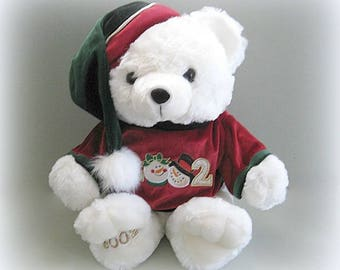 Teddy Bear Toy Bear Christmas Bear Doll Stuffed Bear Plushy Bear White Bear Plush Bear White Teddy Bear Plushie Bear Santa Bear Holiday Bear