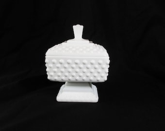 Vintage Square Hobnail Milk Glass Candy Dish with Lid