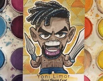 Erik Killmonger - Black Panther WATERCOLOR Sketch Card ACEO original art Marvel - Michael B. Jordan