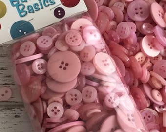 """Pink Mauve Buttons, Assorted Packaged Round Buttons, """"Blush"""" shades of Pink Mauve, 5 Oz Package, #BCB107 by Buttons Galore, 2 and 4 Hole"""