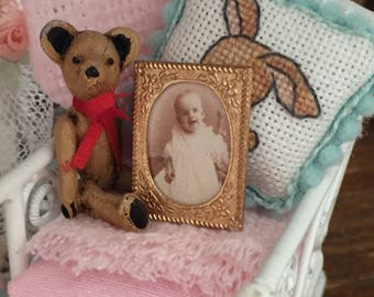 Miniature Baby Picture, Victorian Baby Portrait in Decorative Gold Frame, Dollhouse Miniature, 1:12 Scale, Dollhouse Accessory, Decor