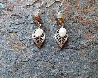 Silver leaf earrings - white leaves - woodland earrings - silver and white dangle earrings - leafy dangles - boho style - tree hugger jewels