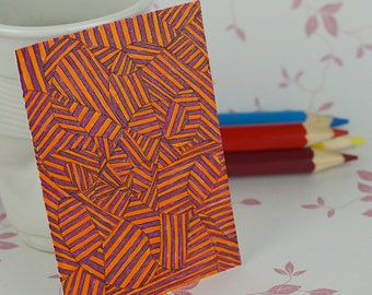 Orange Sparkle Line Drawing ACEO Art Card Mini Artwork Trading Card